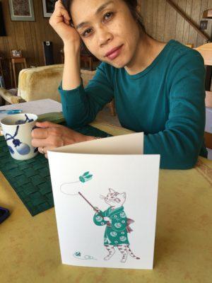 Harumi enjoying a cup of tea after printing